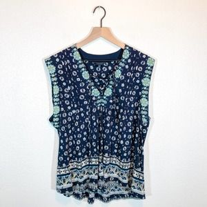 Lucky Brand Navy Blue Printed Lace-Up Tank Top Size Large